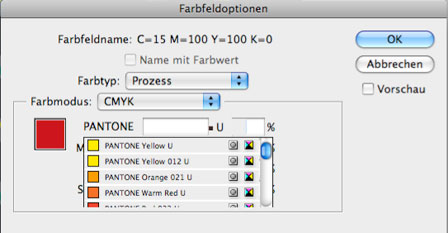 InDesign Farbfeldoptionen des Grauens